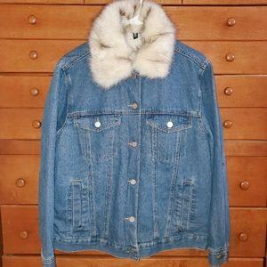 NEW H&M Fur Collar Denim Jacket Sz L/12